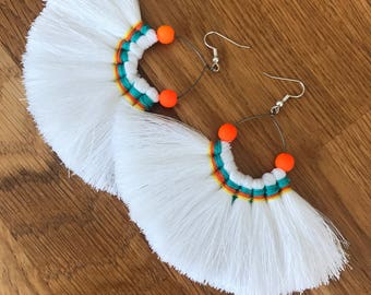 White and Orange Tassel Fan Earrings