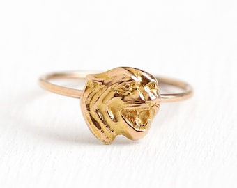 Antique Tiger Ring - 14k Rosy Yellow Gold Figural Stick Pin Conversion - Size 4 1/2 Vintage Edwardian Animal Fine Fierce Cat Jewelry