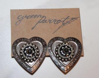 Vintage Black Heart Tin Clip Earrings