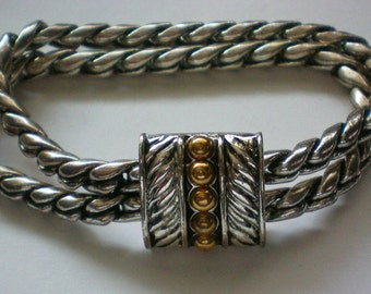 Magnetic Silver and Gold tone Rope Bracelet - 3734