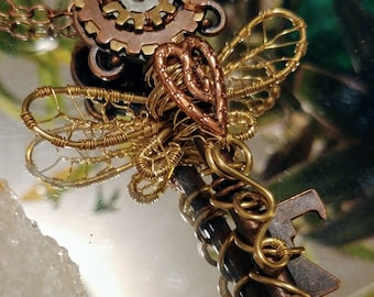 Steampunk Dragonfly Skeleton Key Pendant