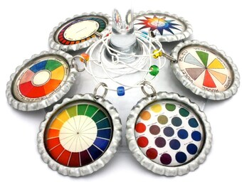 Color wheel wine charms vintage artist color wheel party favors gift for art teacher drink tags.