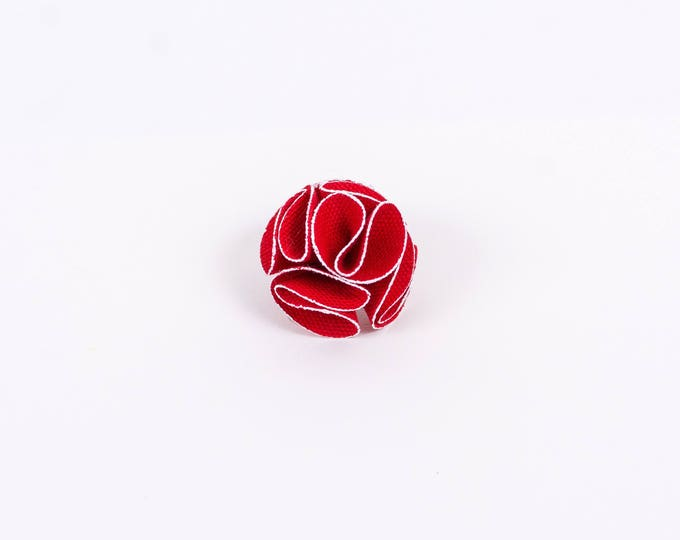 Red Flower Lapel Pin with White Trim.