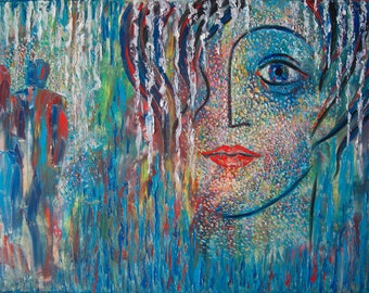 """Abstract painting, Oil painting, Modern artwork, people, wall art """"I don't want to be alone"""""""