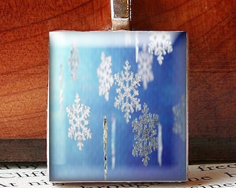 Scrabble Tile Pendant, Snowflakes on Blue, No. 20991 by Smash Gardens on Etsy, Frozen Party Favors, Bridesmaids Gifts, Winter Wedding Favor