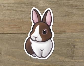Chocolate Dutch rabbit sticker; cute printed vinyl bunny sticker, waterproof, weatherproof