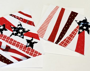 Patriotic Cards, Original Textile Fiber Art Greeting, Americana Notecard, Military, Fathers Day itsyourcountry