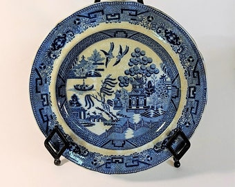 Vintage Blue Willow Traditional Pattern Pagoda, Three Persons on a Bridge, Two Birds, Zig Zag Fence, Willow and Fruit Trees, Boat