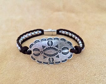 Concho and Silver Pearl Leather Bracelet