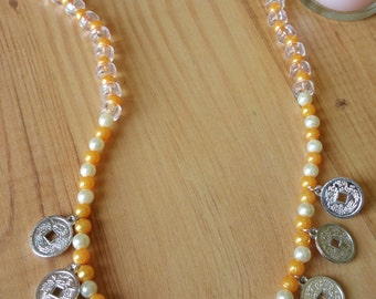 Children's dress-up Yellow Clear White Plastic Beaded Necklace with Chinese Fend Shui coins
