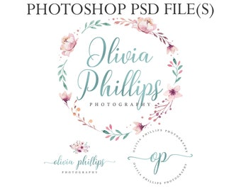Watercolor wreath logo branding kit, blue foil logo, photography logo, bohemian logo, round watermark, pink flower logo, pink floral wreath
