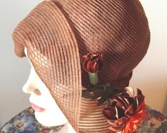 Late 1920's Original Rust Horsehair Cloche/ Velvet Trim  Item #149 Hats
