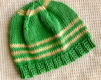 Handknit Cotton Hat/Cap in Green with bands of Peach/Yellow. Good Chemo Cap. OOAK