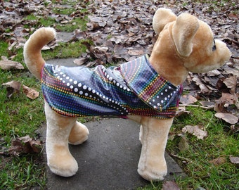 Dog Jacket - Black and Rainbow Dots Raincoat with Swirly Fleece Lining - Size XX Small 8 to 10  Inch Back Length - Or Custom Size