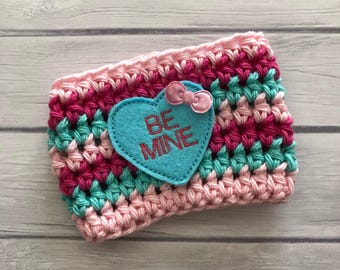 Cup cozy, heart, crochet cup cozy, heart cup cozy, Be Mine, coffee cup cozy, Valentines day cup cozy, Valentine gift, heart cozy, cup sleeve