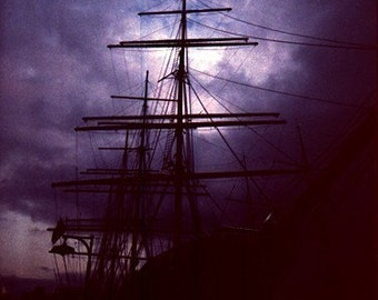 16x20 Pirate Ship Photograph mysterious amethyst purple black mast nautical clouds dreamy big large print silhouette