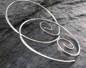 16g STERLING SILVER spiral hoop earrings | 16 gauge threader earring | thick wire hoops|   nickel free No.00E263