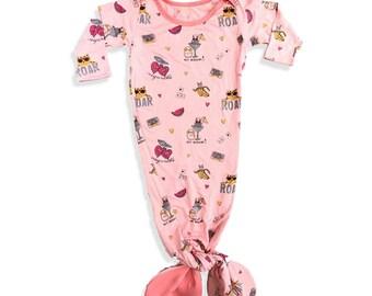 Baby Pink Stamped Mermaid Gown