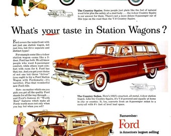 1953 Ford Station Wagon Car & Philco Automatic Refrigerator Advertisements Ads Wall Art Home Decor