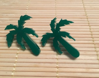 Palm Tree Acrylic Earrings. 925 Solid Silver Studs