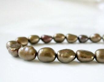 Brown Pearls, Chocolate Pearls, Brown Freshwater Pearls, Rice Pearls, Baroque Rice Pearls, Real Pearl, Genuine Pearl 5mm - Full Strand RP414