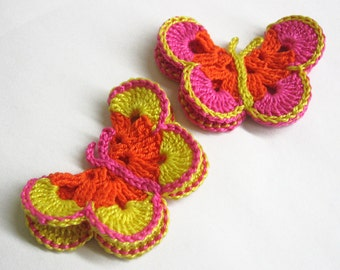 Crocheted Butterfly Appliques 2pc in pink, orange and yellow, 3 inches wide