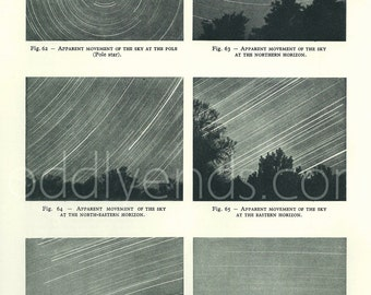 1950's Stars & Sky Movement, Original Vintage Astronomy Space Print (ref62)