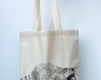 RACCOON- Eco-Friendly Market Tote Bag - Hand Screen printed (Ships FREE!)