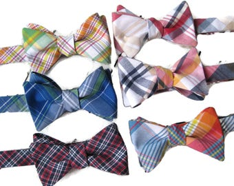 Newport Plaid Bow Tie~Mens Self Tie Bow Tie~Mens Pre-Tied~Anniversary Gift~Wedding Tie~HoBo Ties~Cotton Bow Tie~Mens Gift~Wedding~Mens Plaid