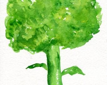 Broccoli watercolor painting original, 5 x 7 vegetable watercolor painting, Food art,  kitchen Farmhouse decor