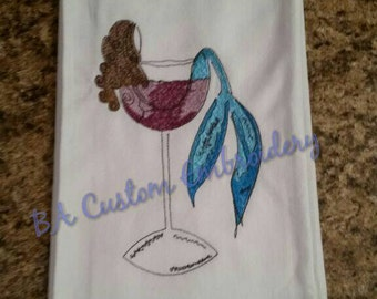 Embroidered Mermaid in Wine Glass Kitchen Towel, Beach Decor, Coastal Living, Wine lovers