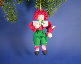 Christmas Raggedy Andy Clothespin Ornament