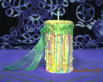 Beltane Candle ~ Spell Candle ~ Witchcraft Candle ~ Wicca Spell Candle ~ Drippy Candle ~ Wicca Ritual Candle ~ Witch's Candle