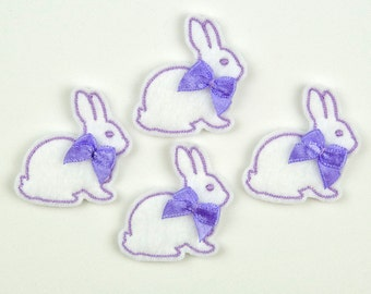 BUNNY - Embroidered Felt Embellishments / Appliques - White & Purple  (Qnty of 4) SCF1030