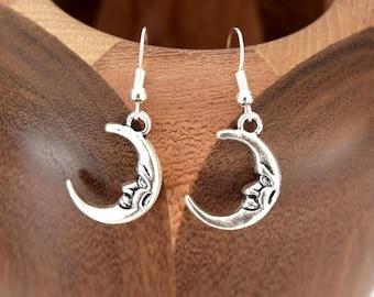 Growing silver Moon Stud Earrings, silver moons growing clips