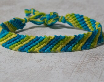 Stripe Cotton Knotted Friendship Bracelet / Anklet - Blues / Green / Yellow