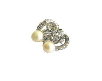 Earrings Faux Pearl Rhinestone Screwback