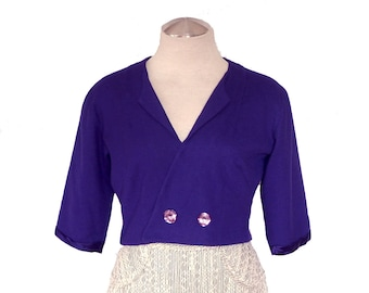 Vintage 50s Purple Wool Satin Crop Shrug Bolero PIN UP Jacket FAB Etched Ice Buttons S/M