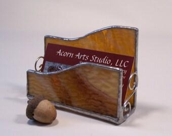 Stained glass business card holder - textured transparent caramel glass, desk organizer, card holder, gift for boss, new business, desk set