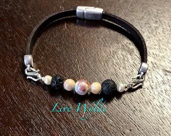 Custom Beaded Semi-Precious and Leather Interchangeable Bracelet