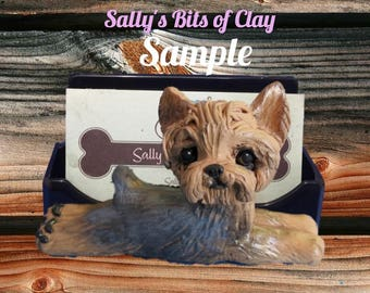 Yorkie Yorkshire Terrier dog Tan with grey (mouth closed) Business Card Holder / mobile phone / Post it Note sculpture Sally's Bits of Clay