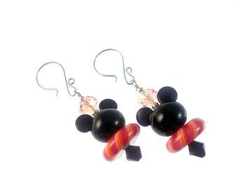 Mouse Earrings, Animal Lampwork Earrings, Statement Earrings, Glass Bead Jewelry, Unique Earrings, Glass Bead Earrings, Lampwork Jewelry