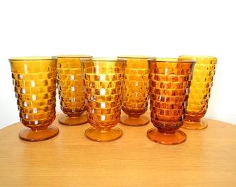 Vintage Amber Drinking Glasses