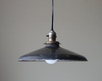 Vintage Industrial Pendant Light Industrial Lighting Black Metal Porcelain Enamel Light Hanging Light