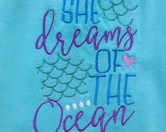 Girl's Embroidered T-shirt  - She Dreams of the Ocean - Custom made to order