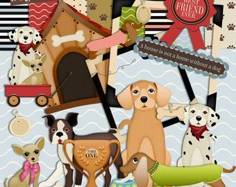 Dog Scrapbook Kit, Animal Scrapbook, Kennel, Dogs, Gold Cup, award, Pet Scrapbook kit, Instant Download, Digital Scrapbook