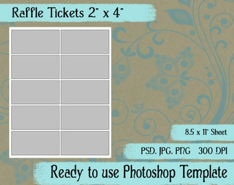 "Digital Template: ""Raffle Ticket"" DIY Digital Raffle Ticket Photoshop Template Party Favor Crafting Supplies"