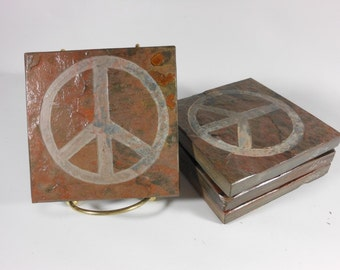 Peace Sign Art Coasters - 4 Etched Slate Coasters, Carved Stone Coasters, Peace Sign Decor, Drink Coasters Hipster Hippie Peace Sign Gifts