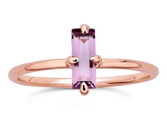 Amethyst Baguette 14K Rose Gold Ring, February Birthstone, Alternative Engagement, Non Traditional, Gift for Mom