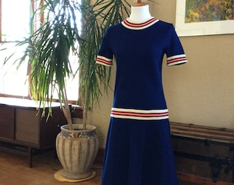 1960s Jonathan Logan Dress - Vintage Navy Blue Dress with Red and Cream Trim - Size Small/Medium - Mod Dress - Tennis Dress - 4th of July
